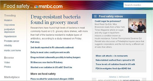 Screen shot of the Food Safety page of msnbc.com