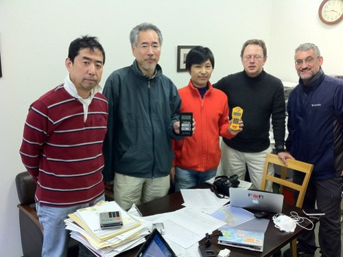 Met volunteers for #safecast.org in koriyama and handed a Geiger counter and geotagging iPhone to start data reporting