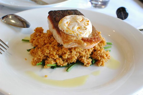 Fish of the Day, Tomato Couscous, Baby Spinach, Harissa Yoghurt