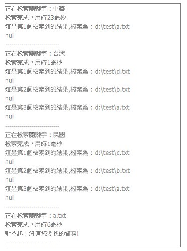 對索引檔進行中華、台灣、民國、a.txt四個字詞的查詢