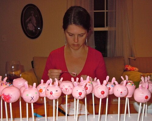 Tiffy decorating bunny cake pops