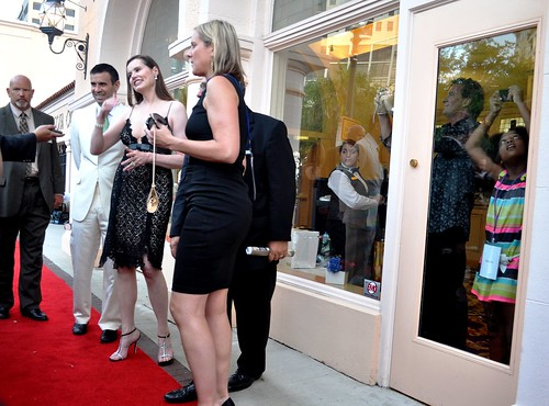 Geena Davis Talks with Media, Actress Jhenyfer Lauren Looks Out Window, Sarasota Film Festival, April 16, 2011