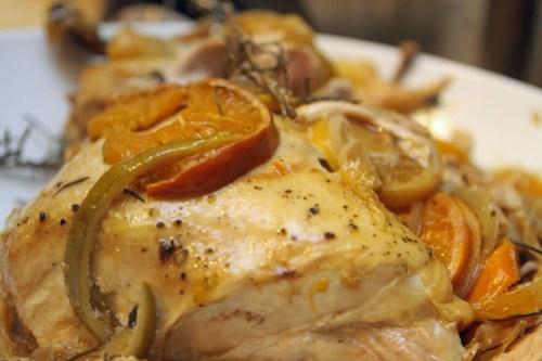 rosemary citrus crockpot chicken plated