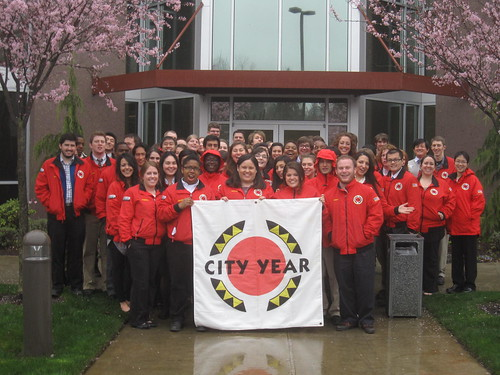 City Year Seattle in Front of Comcast Headquarters in the Washington Region