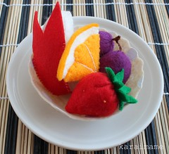 Felt food assortment of fruits