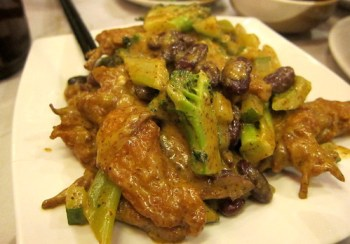 Kidney beans and chicken in mustard sauce