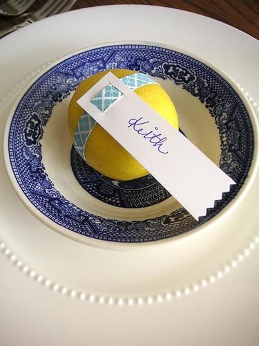 Blue yellow spring dinner