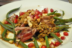Starter: Warm green bean and duck salad with pomegranate and walnuts