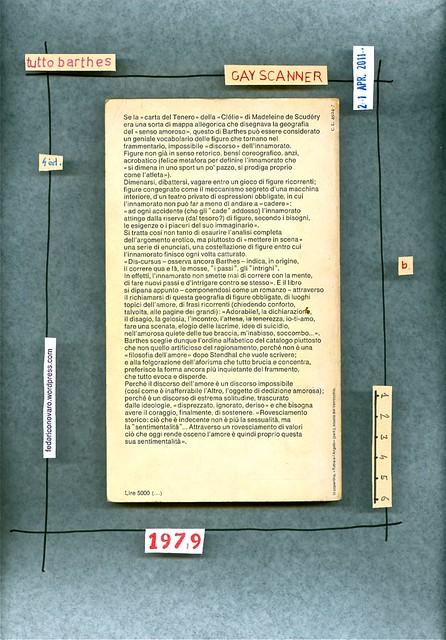 Roland Barthes, Frammenti di un discorso amoroso. Einaudi 1979. quarta di copertina