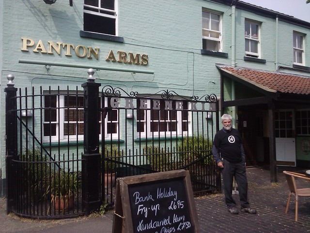 Prof. Peter Murray-Rust outside the Panton Arms in Cambridge