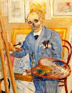 [ E ] James Ensor - Skeleton at the empty ease...