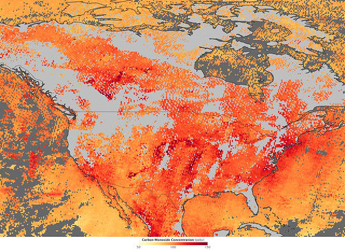 Carbon Monoxide Pollution over the United States and Canada