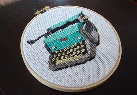 typewriter cross stitch front