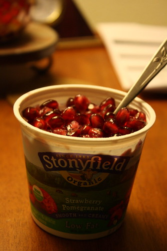 Stonyfield Strawberry Pomegranate with pom arils
