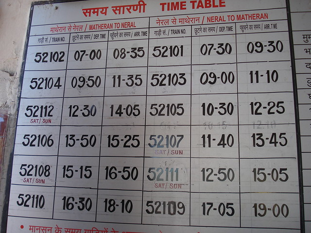 Neral - Matheran Train Time Table