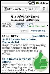 New York Times. Versión Móvil en Android