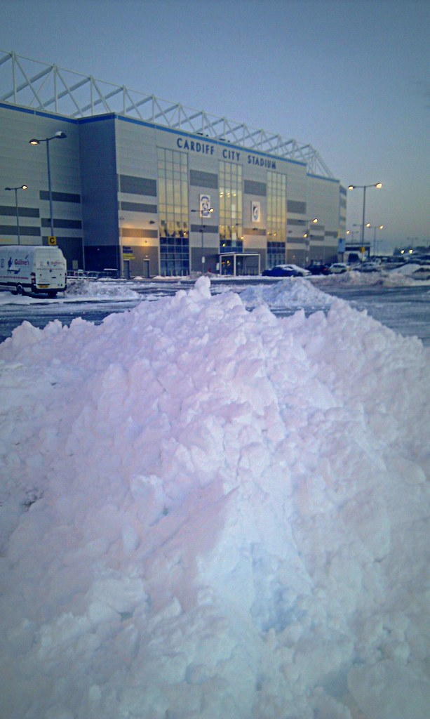 Cardiff City Stadium in the snow.