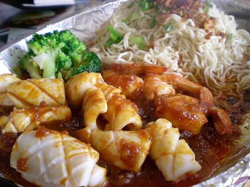 Noodle House's sizzling sambal seafood noodles