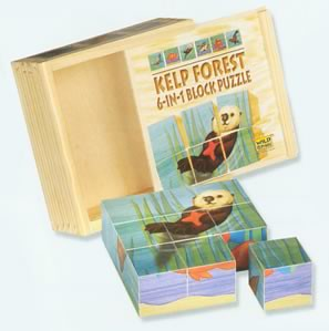 nine wooden cubes make a puzzle of a sea otter.