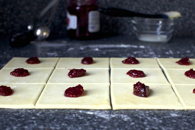rolled, cut and dolloped with jam