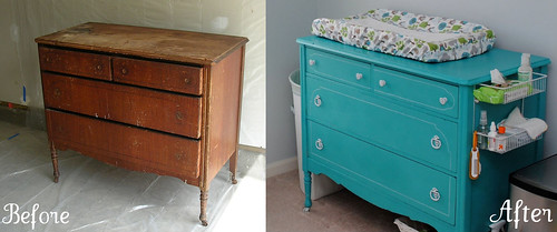 Before and after of the chest of drawers/changing table