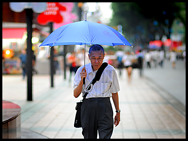 Rain thoughtful Man Street candid photography