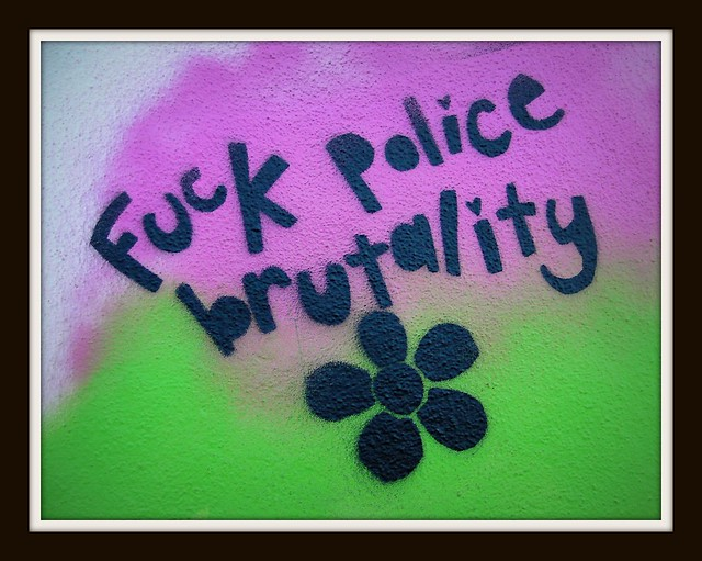 Wintry graffiti in Roath, Cardiff. F**k police brutality