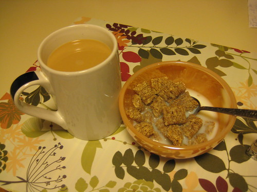 coffee and autumn wheat kashi cereal
