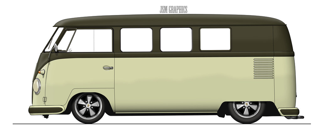 Forest Green Volkswagen Bus