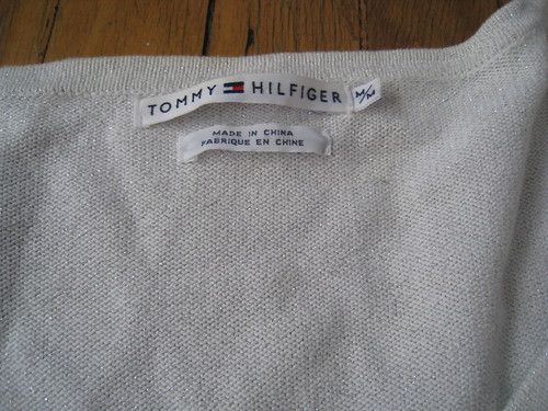 sweater silver tag
