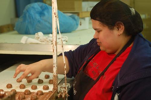 Rose, making chocolate at Dinstuhl's Fine Candies