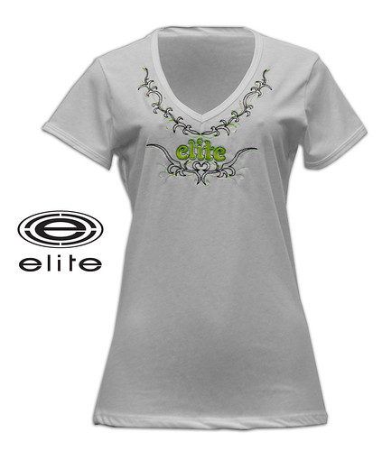 February 2011 Elite Store white/green embroidered girls v neck