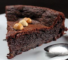 Flourless Nutella Chocolate Cake with Hazelnut halves for World Nutella Day 2011