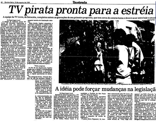 TV Livre na Folha de São Paulo - 1985