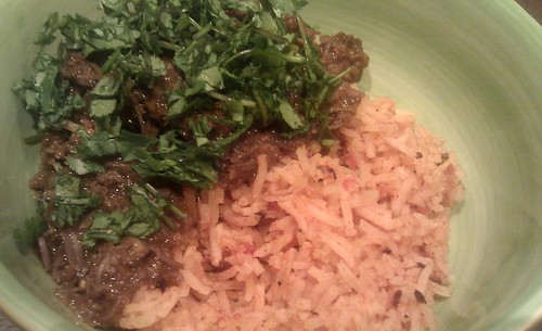Braised pork cheeks with mexican rice