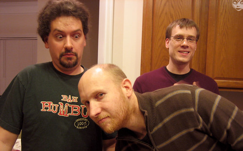 20101231 2314 - New Year's Eve Chili Cook-Off - Clint, Mark, Andy - necessary leaning, funny face - IMG_2583