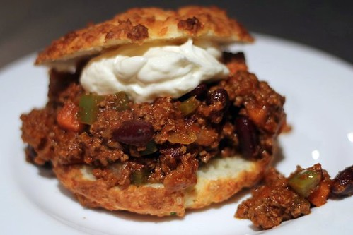 Chili on Sour Cream and Cheese Biscuits