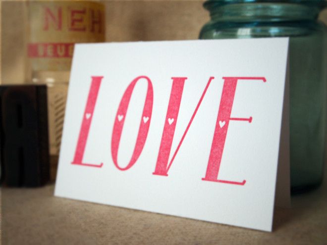 LOVE | Folded Card Pink