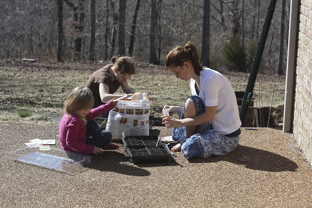 The Three Girls Working on Seedlings