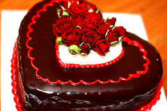 Heart-shaped cake with Roses
