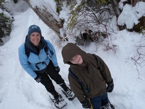Pepper and Jordan snowshoeing