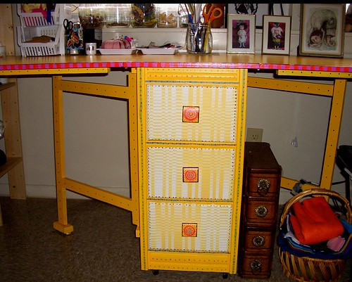 Details: newly painted sewing table