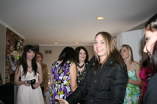 Jenn arriving at her party