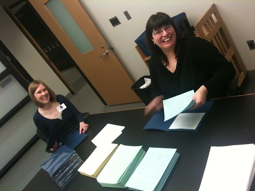 Stuffing folders for Staff Development Day