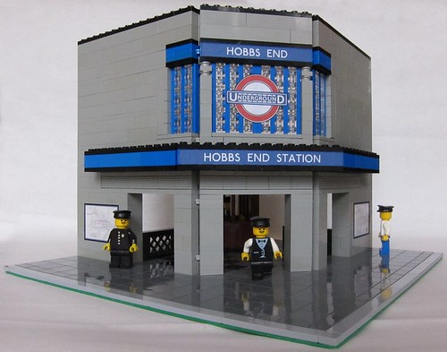 Charles Holden style London Underground Station made from Lego