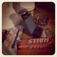 My nightstand is cluttered with evidence of sickness