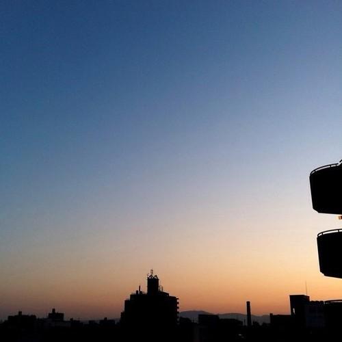 (^o^)ノ < おはよー! 今朝の大阪、雲一つないおー! 今日も笑顔でよろしくで~す!v( ̄Д ̄)v イエイ #Osaka #morning #sunrise