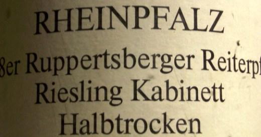 1988 Ruppertsberger Reiterpfad Riesling Kabinett halbtrocken Winzerverein Deidesheim - Etikett 2