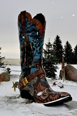Cowboy boot at entrance to Laramie County Community College