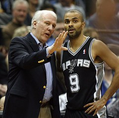 Tony Parker and Greg Popovich